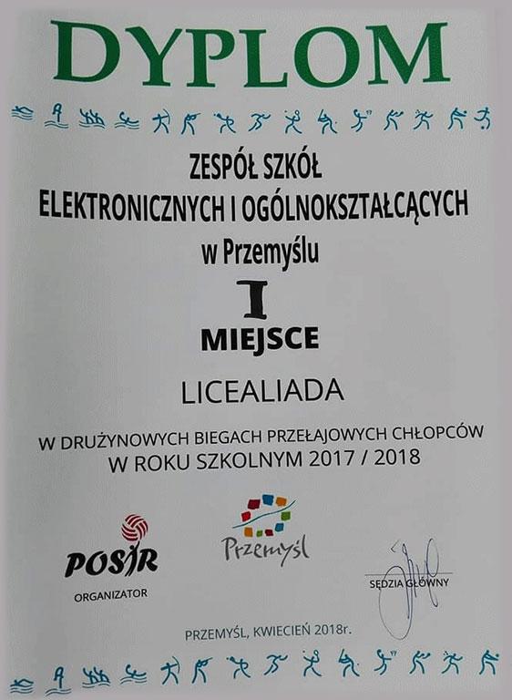 Dyplom w drużynowych biegach przełajowych chłopców